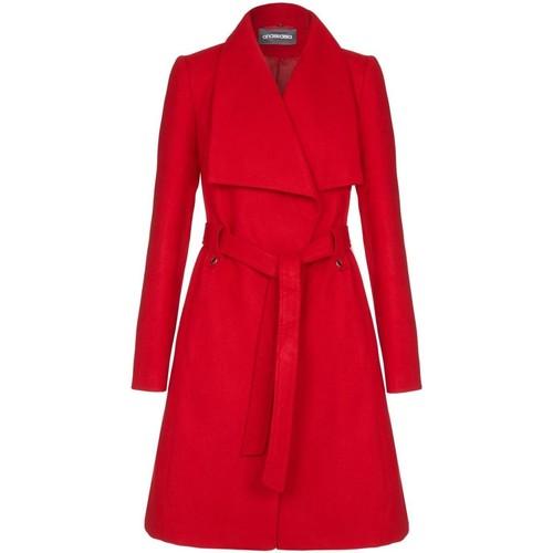 Vêtements Femme Trenchs Anastasia Manteau d'hiver pour femmes à large collier et ceinture Red