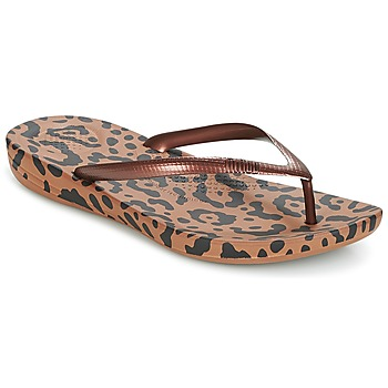 Chaussures Femme Tongs FitFlop IQUSHION ERGONOMIC FLIP-FLOPS Bronze Mix Leopard Print