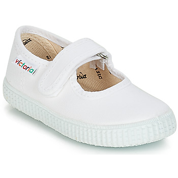 Chaussures Fille Ballerines / babies Victoria MERCEDES VELCRO LONA Blanc