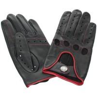 Accessoires textile Femme Gants Glove Story Gants de conduite en cuir agneau ref_glo23665 noir et rouge Noir
