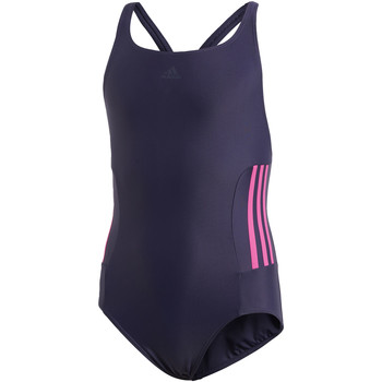 Vêtements Fille Maillots de bain 1 pièce adidas Performance Maillot de bain 3-Stripes Bleu / Bleu / Rose
