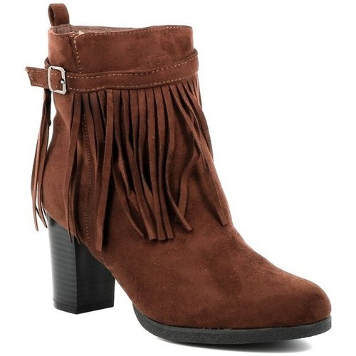 Chaussures Femme Bottines Playa Collection Bottines franges JAIS Marron