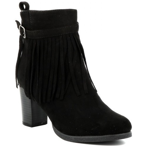 Chaussures Femme Bottines Playa Collection Bottines franges JAIS Noir