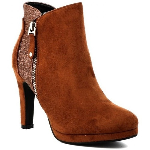 Chaussures Femme Bottines Playa Collection Bottine paillettée LADY Cognac