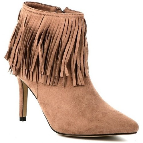 Chaussures Femme Bottines Playa Collection Bottine franges MENTOR Taupe
