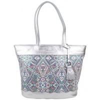 Sacs Femme Cabas / Sacs shopping Patrick Blanc Sac cabas  cuir métallisée motif imprimé ethnique Platine