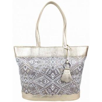 Sacs Femme Cabas / Sacs shopping Patrick Blanc Sac cabas  cuir métallisée motif imprimé ethnique Champagne