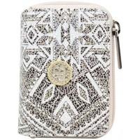 Sacs Femme Porte-monnaie Patrick Blanc Porte monnaie  cuir métallisé motif ethnique Champagne
