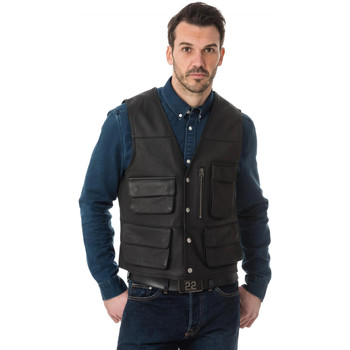 Vêtements Homme Vestes en cuir / synthétiques Last Rebels GILET HUNTER V PED BL Noir