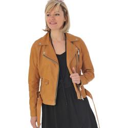 Vêtements Femme Vestes en cuir / synthétiques Gipsy PRUE SF LNUV CURRY Cognac