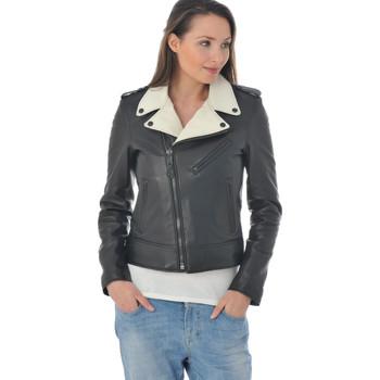 Vêtements Femme Vestes en cuir / synthétiques Schott LCW1601D BLACK OFF WHITE Noir/Blanc
