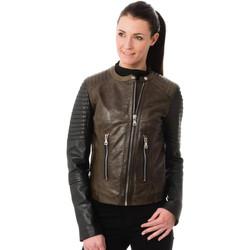 Vêtements Femme Vestes en cuir / synthétiques Korintage ELODIE BI-COLOR ARMY/BLACK Noir/kaki