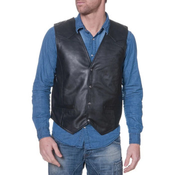 Vêtements Homme Gilets / Cardigans Last Rebels GILET MAN 01 AG BLACK Noir