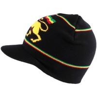 Accessoires textile Homme Bonnets Nyls Création Bonnet Casquette Rasta noir avec Lion Noir
