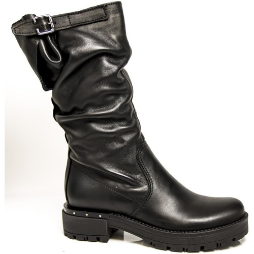 Chaussures Femme Bottes ville Made In Italy BOTTES EN CUIR NOIR W63813 NERO