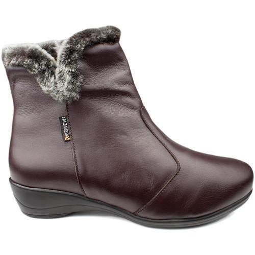 Chaussures Femme Mocassins Calzamedi BOTTES  DIABETIQUES DOUBLE BALANCES ZIPPER W MARRON