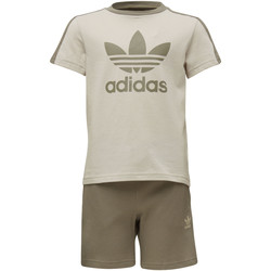 Vêtements Garçon Ensembles enfant adidas Originals Ensemble Fleece Shorts and Tee Marron