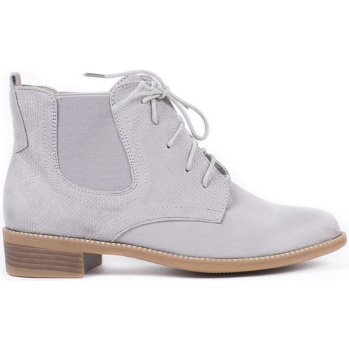 Chaussures Femme Bottines Pomme Passion Bottines style chelsea effet daim Mandy Gris