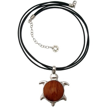 Montres & Bijoux Femme Colliers / Sautoirs Lili La Pie Collier cuir motif grande tortue pendante collection TURTLE Orange