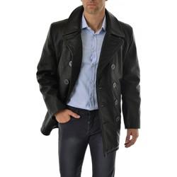 Vêtements Homme Vestes en cuir / synthétiques Schott CABAN CUIR 140 Noir