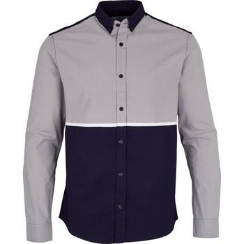 Vêtements Homme Chemises manches longues Kronstadt JOHAN PRINT Bleu / Gris
