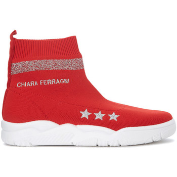 Chaussures Femme Baskets montantes Chiara Ferragni Basket à chaussette Chiara Ferragni Active en maille rouge Rouge