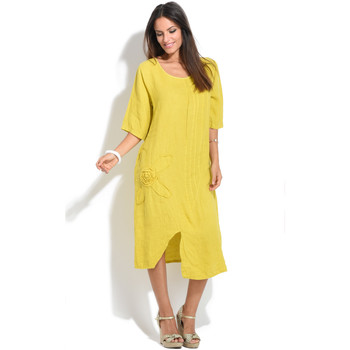 Vêtements Femme Robes longues 100 % Lin Robe HANANE Femme Collection Printemps Eté Jaune