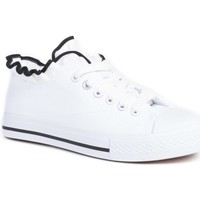 Chaussures Fille Baskets mode Pomme Passion Baskets basses en toiles avec volants Kalys Blanc