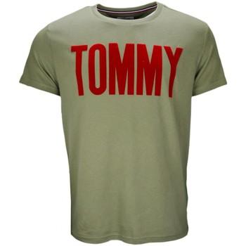 Vêtements Homme T-shirts manches courtes Tommy Hilfiger T-shirt col rond Tommy Hilfiger Dénim vert kaki pour homme Vert
