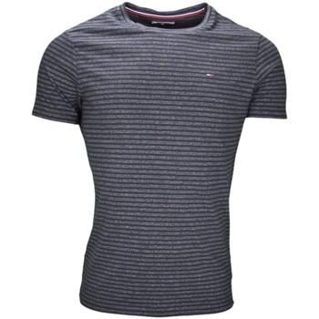 Vêtements Homme T-shirts manches courtes Tommy Hilfiger T-shirt col rond rayé Tommy Hilfiger noir pour homme Noir