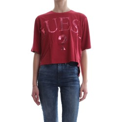 Vêtements Femme T-shirts manches courtes Guess W81I71 K6MG0 CROPPED T-SHIRT Femme Rosso Rosso