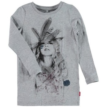 Vêtements Fille T-shirts manches longues Name It Kids T-Shirt manches longues  NENIKA Grey Melange Noir