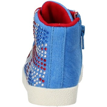 Chaussures Fille Baskets montantes Lulu' chaussures fille LULU' sneakers bleu toile strass AG663 bleu