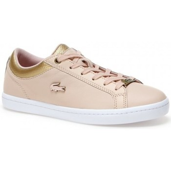 Chaussures Femme Baskets basses Lacoste Lacostesneakers straightset en cuir froissé Rose