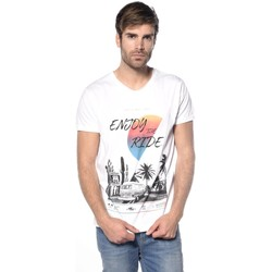 Vêtements Homme T-shirts manches courtes Deeluxe T-shirt roadtrip Enjoy blanc