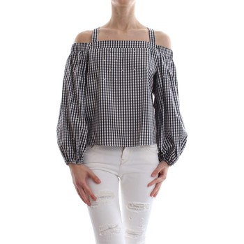 Blouses Guess W82H20 W9X40 LS GOLDIE TOP Femme NERO BIANCO