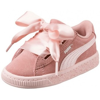 Chaussures Fille Baskets basses Puma Chaussures  Ps Suede Heart Jewel V - Peach Beige / Pearl Rose