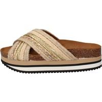 Chaussures Femme Claquettes 5 Pro Ject sandales beige textile or AC586 beige