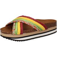 Chaussures Femme Claquettes 5 Pro Ject sandales vert textile jaune AC589 multicolor