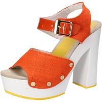 Chaussures Femme Sandales et Nu-pieds Suky Brand sandales orange textile cuir verni AC802 orange