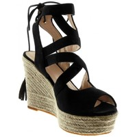 Chaussures Femme Espadrilles Bello Star Angkorly - Sandale Espadrille Peep-Toe - corde lacets multi-brid Noir