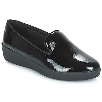 Chaussures Femme Mocassins FitFlop AUDREY SMOKING SLIPPERS CRINKLE PATENT Noir