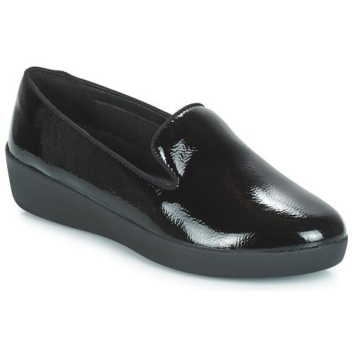 Fitflop Noir Patent Smoking Audrey Chaussures Femme Slippers Mocassins Crinkle A54RL3jq