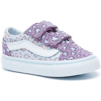 Chaussures Fille Baskets mode Vans Chaussures  T Old Skool V - 2-Tone Leaopard Baby Blue / Diffused Violet