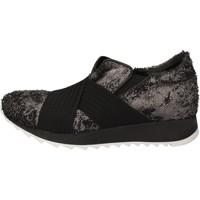 Chaussures Femme Baskets basses Andia Fora sneakers argent textile noir cuir AD326 noir