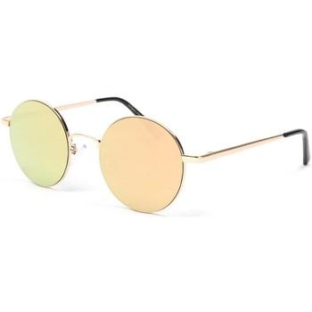 Montres & Bijoux Lunettes de soleil Eye Wear Lunette de soleil ronde miroir dore Obladi Jaune