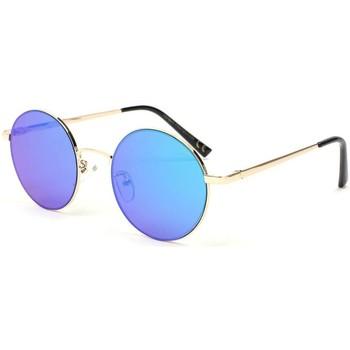 Montres & Bijoux Lunettes de soleil Eye Wear Lunette de soleil ronde miroir bleu Obladi Bleu
