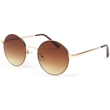 Montres & Bijoux Lunettes de soleil Eye Wear Lunette de soleil ronde dore et marron Obladi Marron