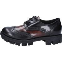 Chaussures Femme Derbies Lea Foscati élégantes noir cuir brillant marron AD743 noir