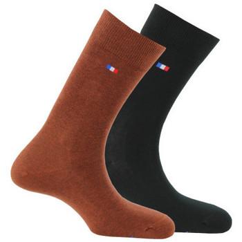 Accessoires Homme Chaussettes Kindy Lot de 2 paires de chaussettes fabriquées en France Roux noir